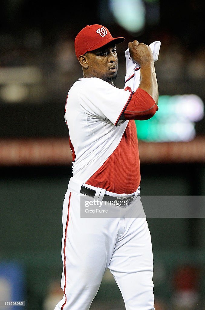<a gi-track='captionPersonalityLinkClicked' href=/galleries/search?phrase=Rafael+Soriano&family=editorial&specificpeople=587892 ng-click='$event.stopPropagation()'>Rafael Soriano</a> #29 of the Washington Nationals celebrates after a 3-2 victory against the Arizona Diamondbacks at Nationals Park on June 26, 2013 in Washington, DC.