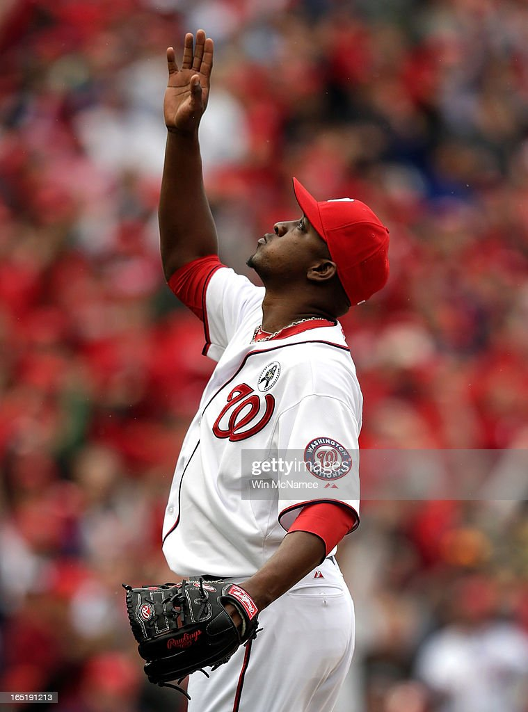 Rafael Soriano #29 of the Washington Nationals celebrates after closing out the ninth inning of the Opening Day game against the Miami Marlins at Nationals Park on Monday, April 1, 2013 in Washington, DC. Washington won the game 2-0.