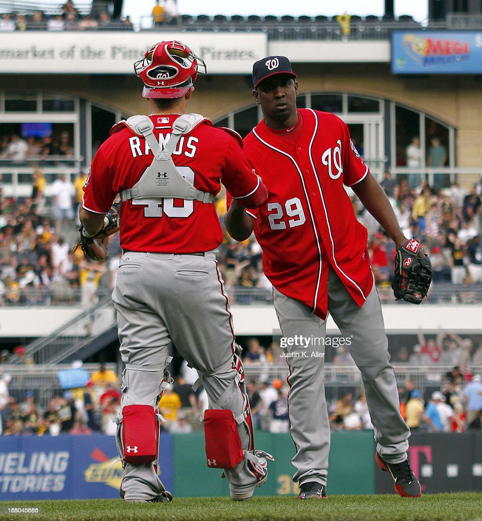 <a gi-track='captionPersonalityLinkClicked' href=/galleries/search?phrase=Rafael+Soriano&family=editorial&specificpeople=587892 ng-click='$event.stopPropagation()'>Rafael Soriano</a> #29 of the Washington Nationals celebrates after closing out the game against the Pittsburgh Pirates during the game on May 4, 2013 at PNC Park in Pittsburgh, Pennsylvania. The Nationals defeated the Pirates 5-4.