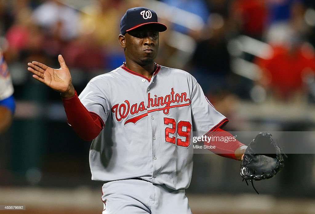 <a gi-track='captionPersonalityLinkClicked' href=/galleries/search?phrase=Rafael+Soriano&family=editorial&specificpeople=587892 ng-click='$event.stopPropagation()'>Rafael Soriano</a> #29 of the Washington Nationals celebrates after defeating the New York Mets at Citi Field on August 13, 2014 in the Flushing neighborhood of the Queens borough of New York City. Nationals defeated the Mets 3-2 .