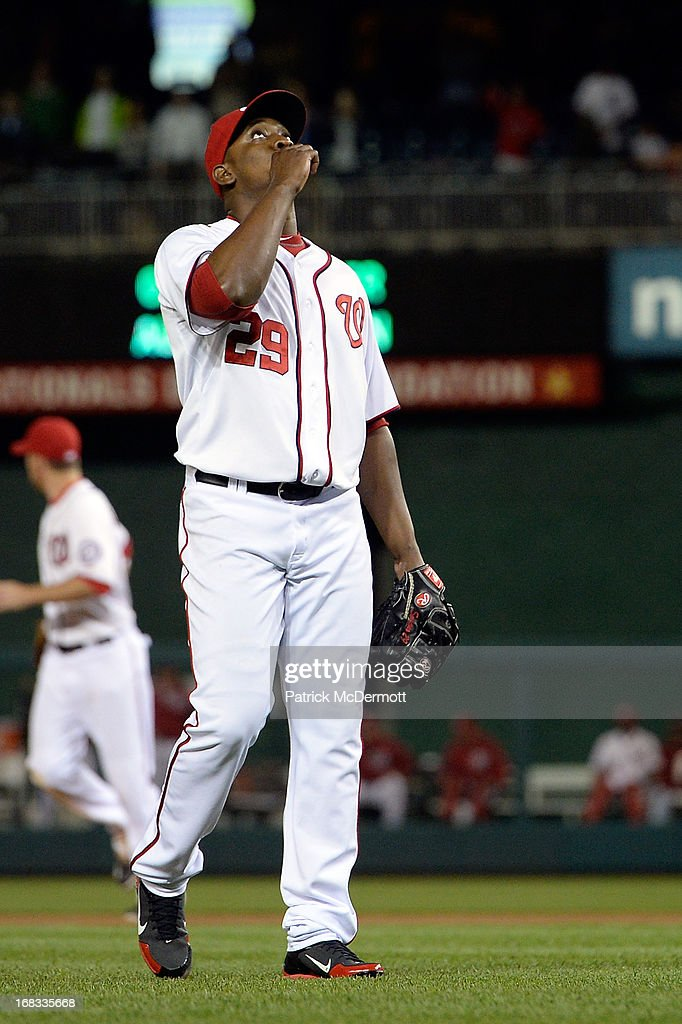 <a gi-track='captionPersonalityLinkClicked' href=/galleries/search?phrase=Rafael+Soriano&family=editorial&specificpeople=587892 ng-click='$event.stopPropagation()'>Rafael Soriano</a> #29 of the Washington Nationals celebrates after the Nationals defeated the Detroit Tigers 3-1 during a game at Nationals Park on May 8, 2013 in Washington, DC.