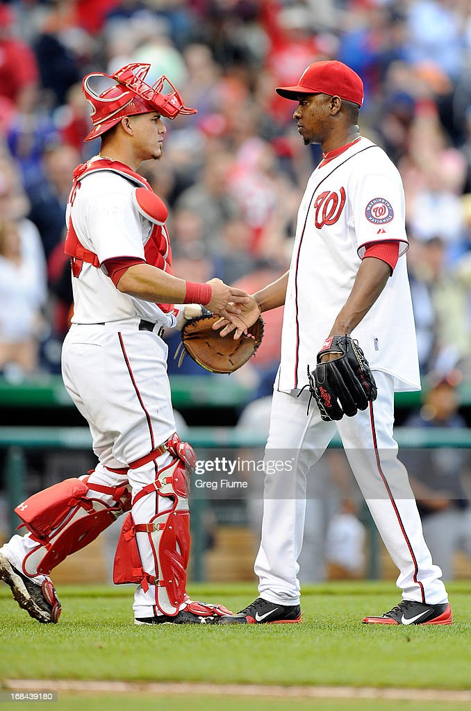 <a gi-track='captionPersonalityLinkClicked' href=/galleries/search?phrase=Rafael+Soriano&family=editorial&specificpeople=587892 ng-click='$event.stopPropagation()'>Rafael Soriano</a> #29 of the Washington Nationals celebrates with <a gi-track='captionPersonalityLinkClicked' href=/galleries/search?phrase=Wilson+Ramos&family=editorial&specificpeople=4866956 ng-click='$event.stopPropagation()'>Wilson Ramos</a> #40 after a 5-4 victory against the Detroit Tigers at Nationals Park on May 9, 2013 in Washington, DC.
