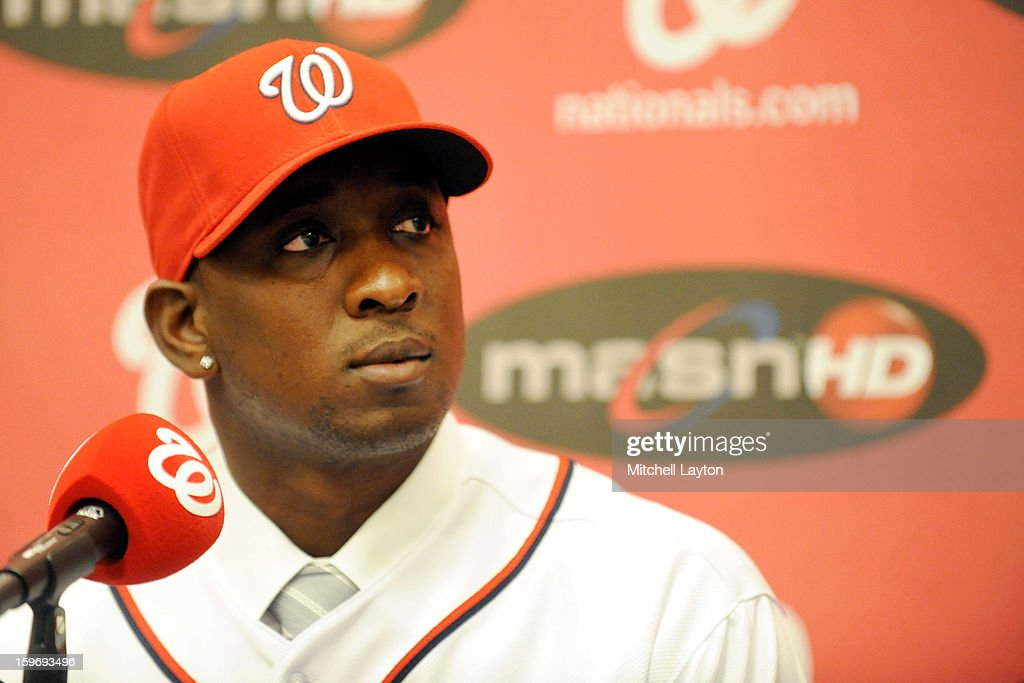 <a gi-track='captionPersonalityLinkClicked' href=/galleries/search?phrase=Rafael+Soriano&family=editorial&specificpeople=587892 ng-click='$event.stopPropagation()'>Rafael Soriano</a> of the Washington Nationals looks on during his introduction press conference on January 17, 2013 at Nationals Park in Washington, DC.
