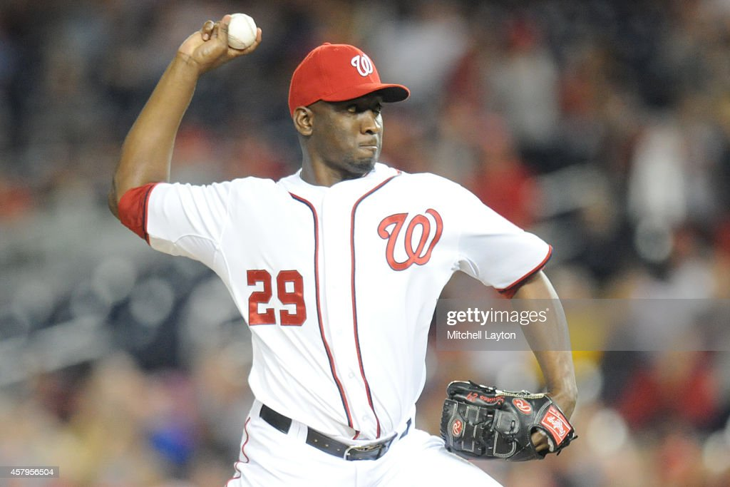 <a gi-track='captionPersonalityLinkClicked' href=/galleries/search?phrase=Rafael+Soriano&family=editorial&specificpeople=587892 ng-click='$event.stopPropagation()'>Rafael Soriano</a> #29 of the Washington Nationals pitches during game two of a doubleheader baseball game against the Miami Marlins on September 26, 2014 at Nationals Park in Washington, DC. The Marlins won 15-7.