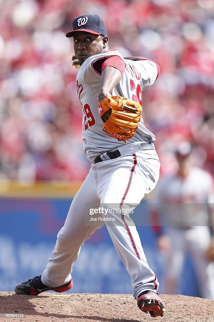 <a gi-track='captionPersonalityLinkClicked' href=/galleries/search?phrase=Rafael+Soriano&family=editorial&specificpeople=587892 ng-click='$event.stopPropagation()'>Rafael Soriano</a> #29 of the Washington Nationals pitches in the ninth inning of the game against the Cincinnati Reds at Great American Ball Park on April 6, 2013 in Cincinnati, Ohio. The Nationals won 7-6 in 11 innings.