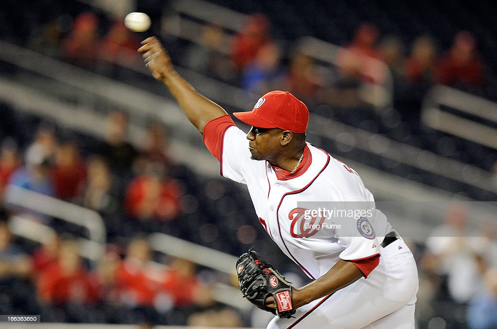 <a gi-track='captionPersonalityLinkClicked' href=/galleries/search?phrase=Rafael+Soriano&family=editorial&specificpeople=587892 ng-click='$event.stopPropagation()'>Rafael Soriano</a> #29 of the Washington Nationals pitches in the ninth inning against the Chicago White Sox at Nationals Park on April 11, 2013 in Washington, DC.