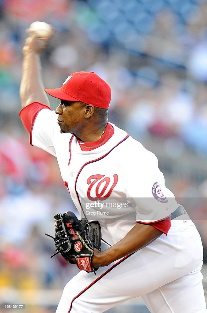 <a gi-track='captionPersonalityLinkClicked' href=/galleries/search?phrase=Rafael+Soriano&family=editorial&specificpeople=587892 ng-click='$event.stopPropagation()'>Rafael Soriano</a> #29 of the Washington Nationals pitches in the ninth inning against the Detroit Tigers at Nationals Park on May 9, 2013 in Washington, DC.