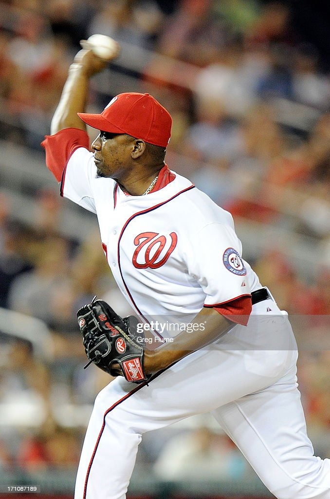 <a gi-track='captionPersonalityLinkClicked' href=/galleries/search?phrase=Rafael+Soriano&family=editorial&specificpeople=587892 ng-click='$event.stopPropagation()'>Rafael Soriano</a> #29 of the Washington Nationals pitches in the ninth inning against the Colorado Rockies at Nationals Park on June 21, 2013 in Washington, DC.