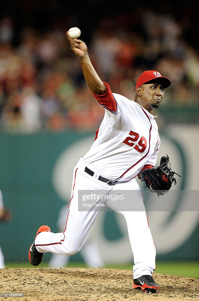 <a gi-track='captionPersonalityLinkClicked' href=/galleries/search?phrase=Rafael+Soriano&family=editorial&specificpeople=587892 ng-click='$event.stopPropagation()'>Rafael Soriano</a> #29 of the Washington Nationals pitches in the ninth inning against the Arizona Diamondbacks at Nationals Park on June 26, 2013 in Washington, DC. Washington won the game 3-2.