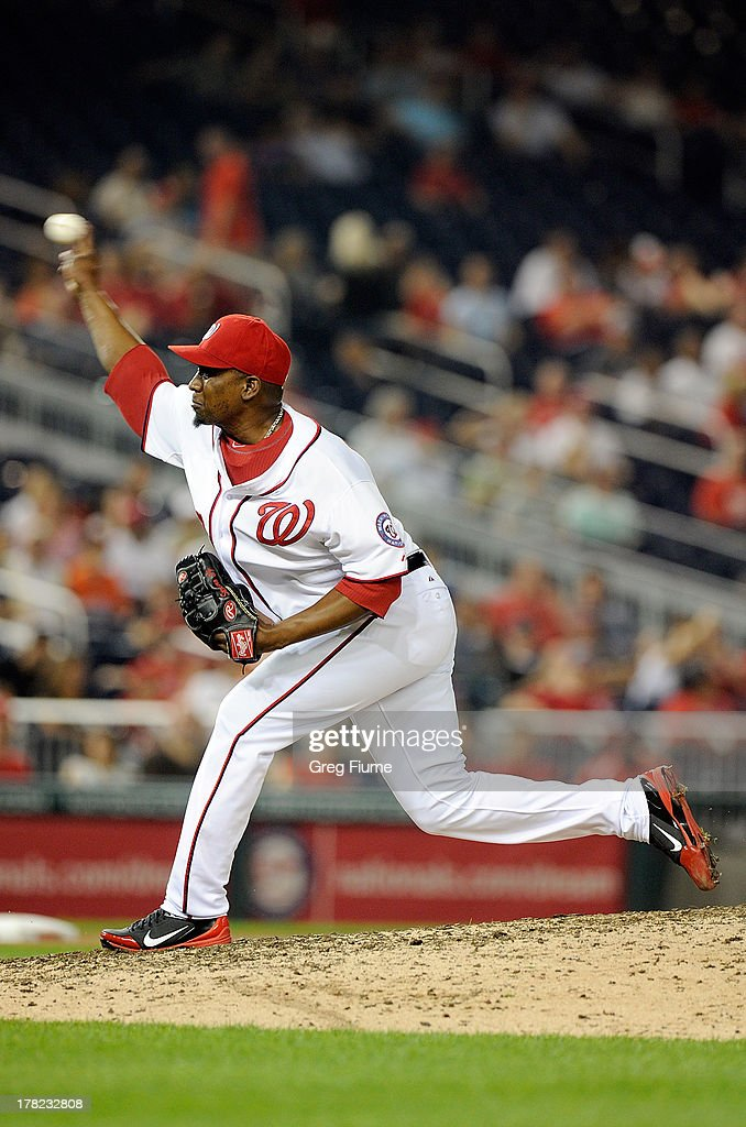 <a gi-track='captionPersonalityLinkClicked' href=/galleries/search?phrase=Rafael+Soriano&family=editorial&specificpeople=587892 ng-click='$event.stopPropagation()'>Rafael Soriano</a> #29 of the Washington Nationals pitches in the ninth inning against the Miami Marlins at Nationals Park on August 27, 2013 in Washington, DC. Washington won the game 2-1.