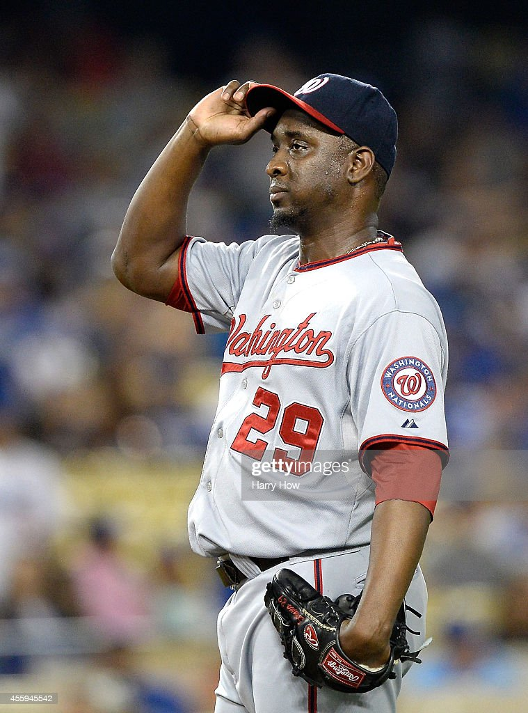 <a gi-track='captionPersonalityLinkClicked' href=/galleries/search?phrase=Rafael+Soriano&family=editorial&specificpeople=587892 ng-click='$event.stopPropagation()'>Rafael Soriano</a> #29 of the Washington Nationals reacts on the mound during the game against the Los Angeles Dodgers at Dodger Stadium on September 1, 2014 in Los Angeles, California.