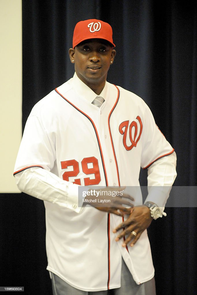 Rafael Soriano of the Washington Nationals shows his new jersey during his introduction press conference on January 17, 2013 at Nationals Park in Washington, DC.