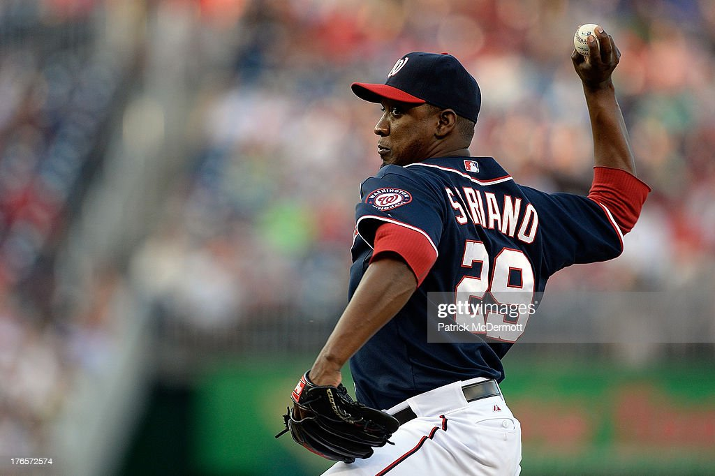 <a gi-track='captionPersonalityLinkClicked' href=/galleries/search?phrase=Rafael+Soriano&family=editorial&specificpeople=587892 ng-click='$event.stopPropagation()'>Rafael Soriano</a> #29 of the Washington Nationals throws a pitch against the San Francisco Giants in the ninth inning during a game at Nationals Park on August 15, 2013 in Washington, DC.