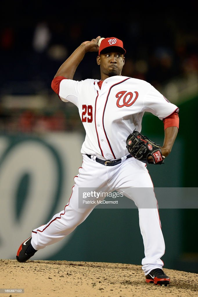 <a gi-track='captionPersonalityLinkClicked' href=/galleries/search?phrase=Rafael+Soriano&family=editorial&specificpeople=587892 ng-click='$event.stopPropagation()'>Rafael Soriano</a> #29 of the Washington Nationals throws a pitch in the ninth inning during a game against the Miami Marlins at Nationals Park on April 3, 2013 in Washington, DC.