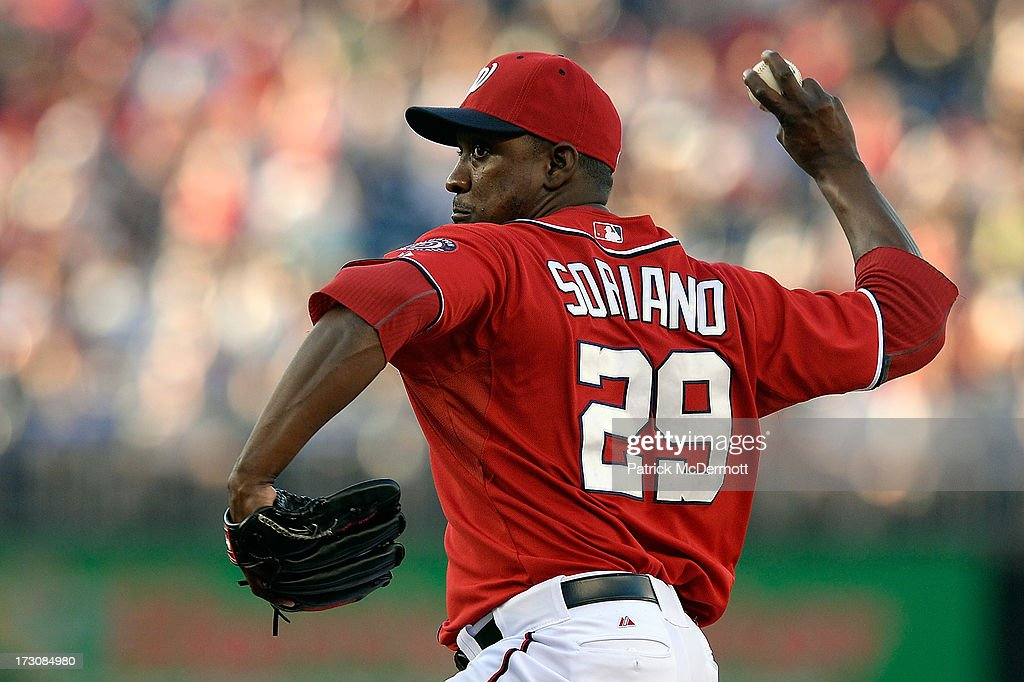 <a gi-track='captionPersonalityLinkClicked' href=/galleries/search?phrase=Rafael+Soriano&family=editorial&specificpeople=587892 ng-click='$event.stopPropagation()'>Rafael Soriano</a> #29 of the Washington Nationals throws a pitch in the ninth inning during a game against the San Diego Padres at Nationals Park on July 6, 2013 in Washington, DC.