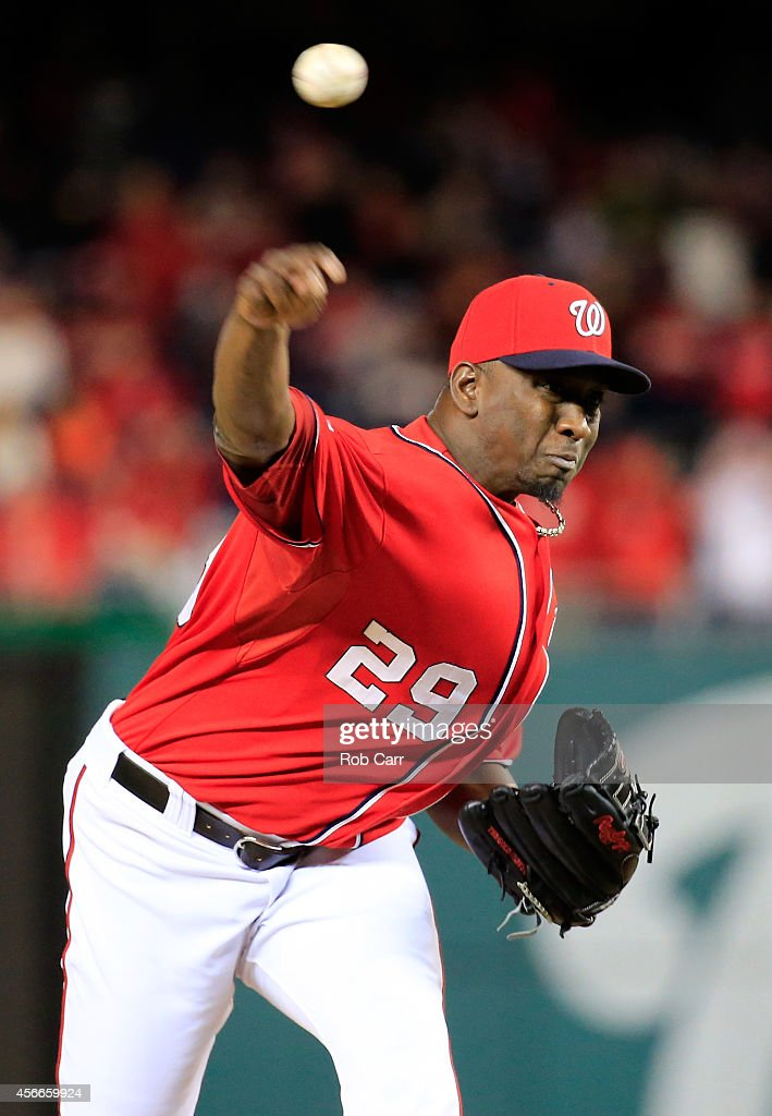 <a gi-track='captionPersonalityLinkClicked' href=/galleries/search?phrase=Rafael+Soriano&family=editorial&specificpeople=587892 ng-click='$event.stopPropagation()'>Rafael Soriano</a> #29 of the Washington Nationals throws a pitch in the sixteenth inning against the San Francisco Giants during Game Two of the National League Division Series at Nationals Park on October 4, 2014 in Washington, DC.