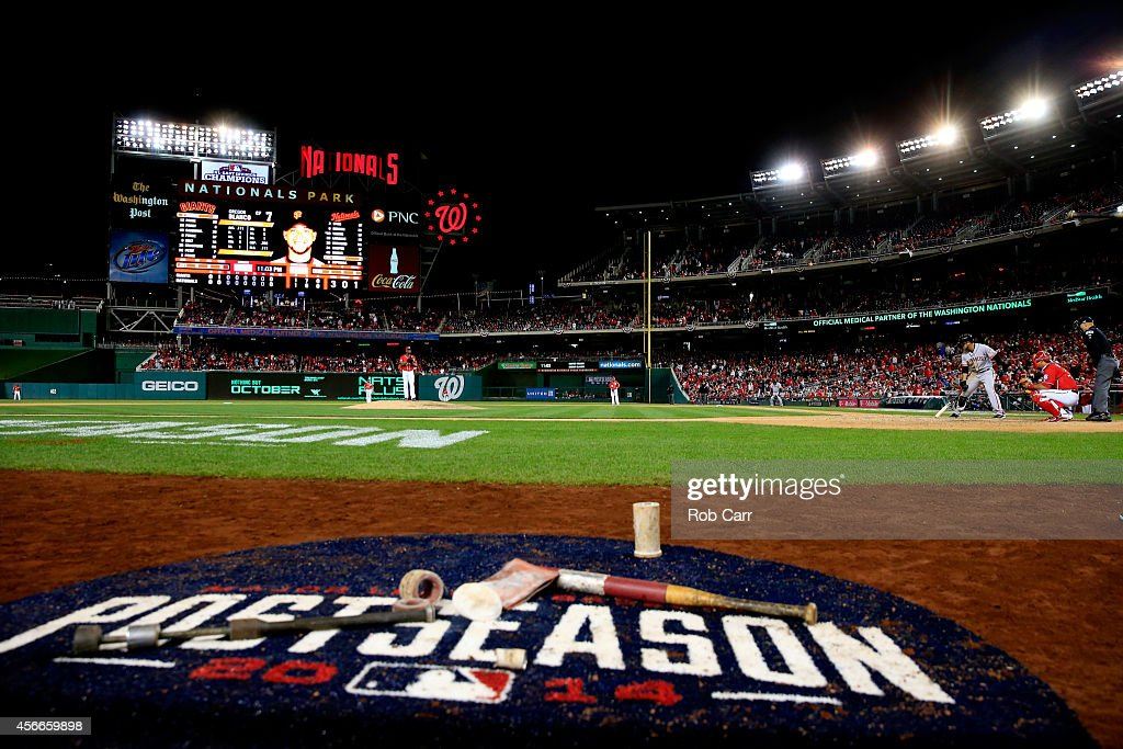 <a gi-track='captionPersonalityLinkClicked' href=/galleries/search?phrase=Rafael+Soriano&family=editorial&specificpeople=587892 ng-click='$event.stopPropagation()'>Rafael Soriano</a> #29 of the Washington Nationals throws a pitch to <a gi-track='captionPersonalityLinkClicked' href=/galleries/search?phrase=Gregor+Blanco&family=editorial&specificpeople=4137600 ng-click='$event.stopPropagation()'>Gregor Blanco</a> #7 of the San Francisco Giants in the sixteenth inning against the San Francisco Giants during Game Two of the National League Division Series at Nationals Park on October 4, 2014 in Washington, DC.