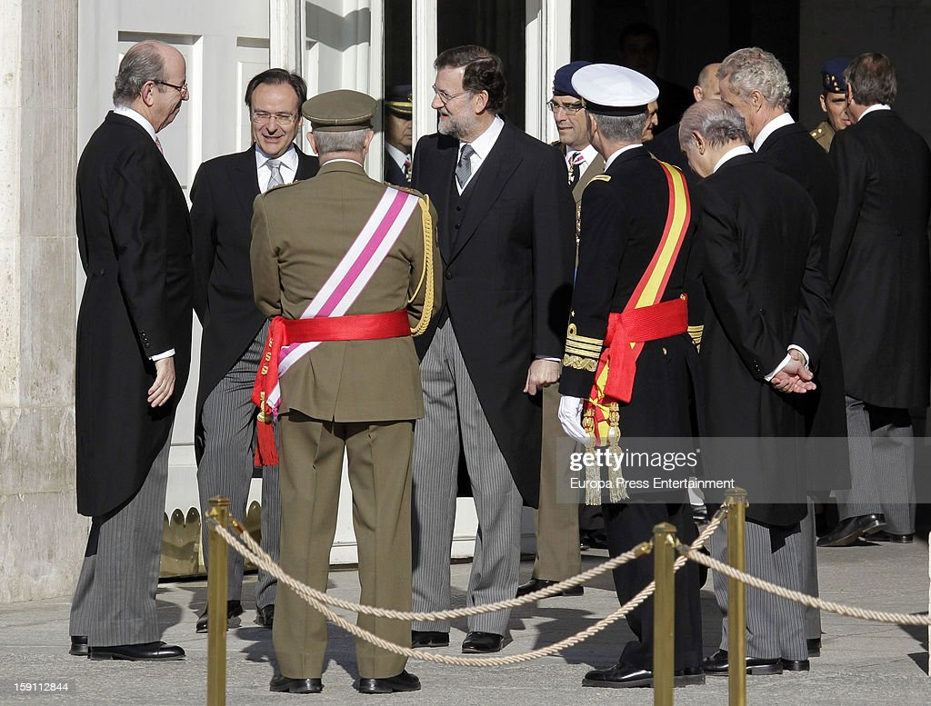 Rafael Spottorno (L) and Mariano Rajoy (4L) attend the New Year's Military Parade on January 6, 2013 in Madrid, Spain.