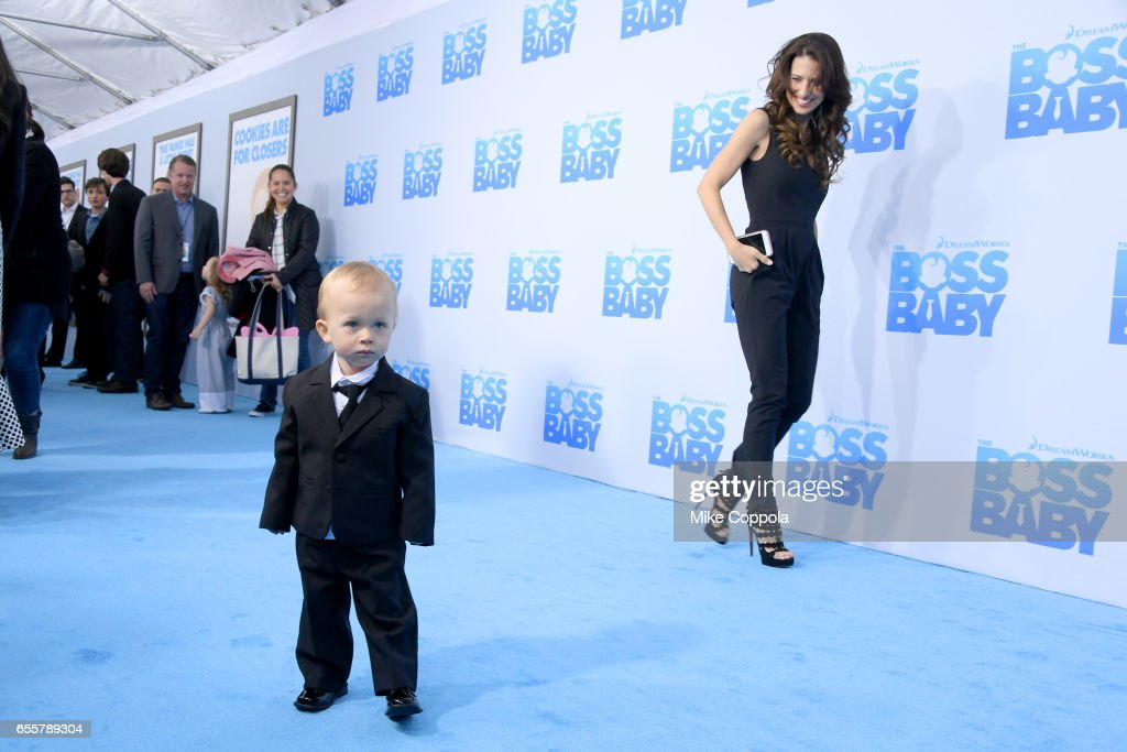 Rafael Thomas Baldwin and Hilaria Baldwin attend 'The Boss Baby' New York Premiere at AMC Loews Lincoln Square 13 theater on March 20, 2017 in New York City.