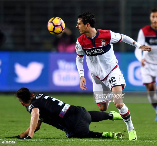 Rafael Toloi of Atalanta and Adrian Stoian of Crotone ompete for the ball during the Serie A match between Atalanta BC and FC Crotone at Stadio...