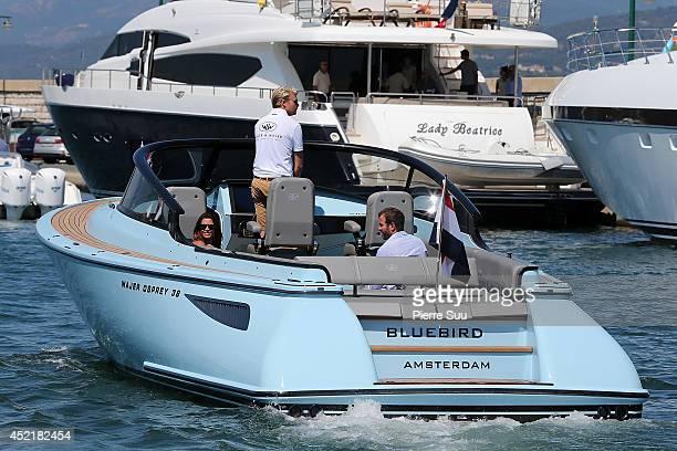 Rafael Van Der Vaart and girfriend Sabia Boulahrouz enjoy a boatride on July 15 2014 in SaintTropez France