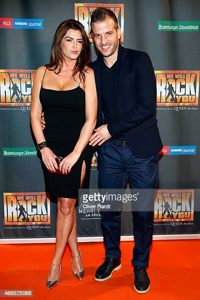 Rafael van der Vaart and his girlfriend Sabia Boulahrouz pose during the premiere of the musical 'We Will Rock You' on March 16 2015 in Hamburg...