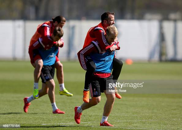 Rafael van der vaart and Maxi Beister in action of Hamburg looks on during the of Hamburger SV training session on April 15 2015 in Hamburg Germany