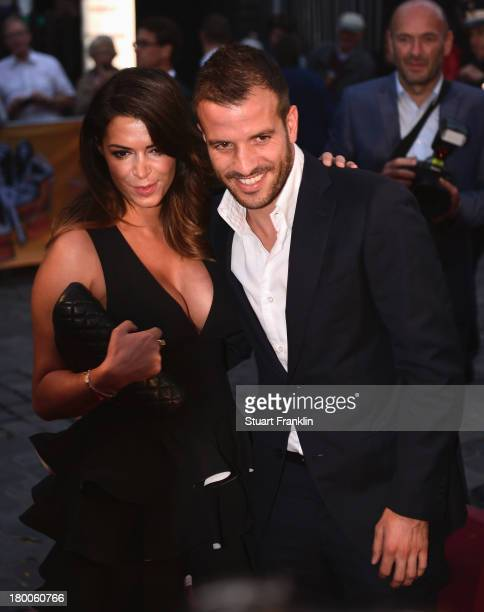 Rafael van der Vaart capatin of Hamburger SV arrives with his girlfriend Sabia Boulharouz at the evening gala at Schmidt theater after the day of the...