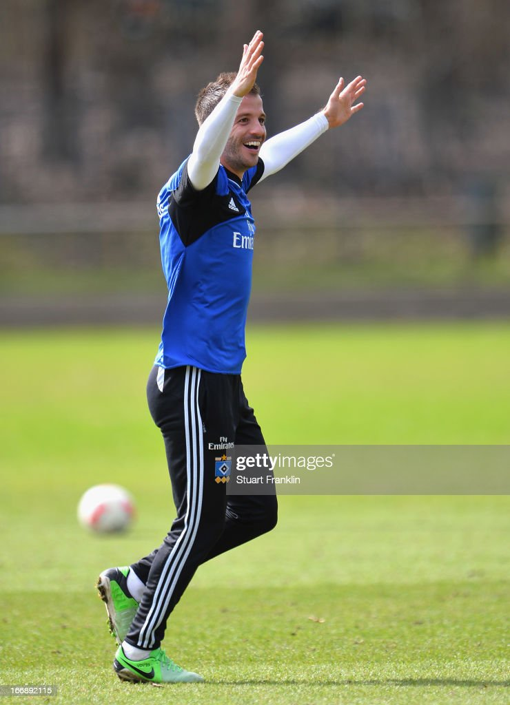Rafael van der Vaart, captain of Hamburg gestures during a training session of Hamburger SV on April 18, 2013 in Hamburg, Germany.