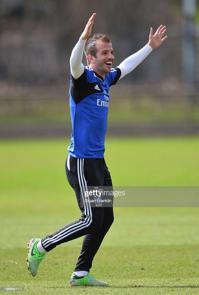 Rafael van der Vaart, captain of Hamburg gestures during a training session of Hamburger SV on April 18, 2013 in Hamburg, Germany.