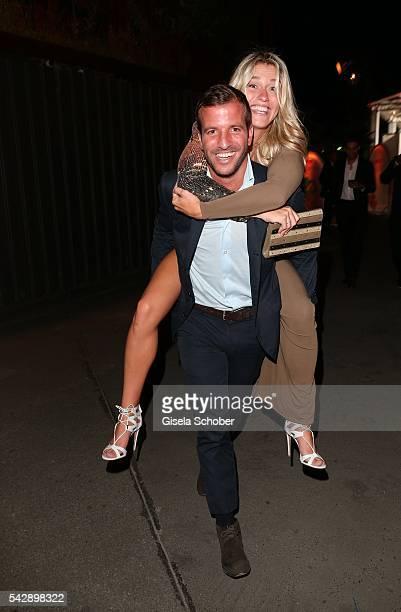 Rafael van der Vaart carries his girlfriend Estavana Polman during the Raffaello Summer Day 2016 to celebrate the 26th anniversary of Raffaello on...