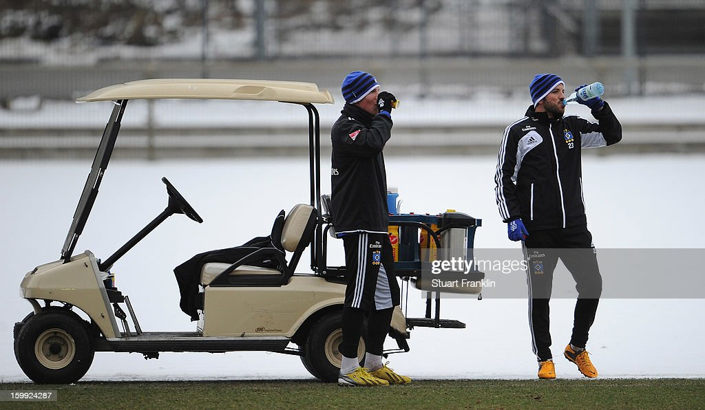 Rafael van der Vaart has a drink of water during a training session of Hamburg SV on January 23, 2013 in Hamburg, Germany.