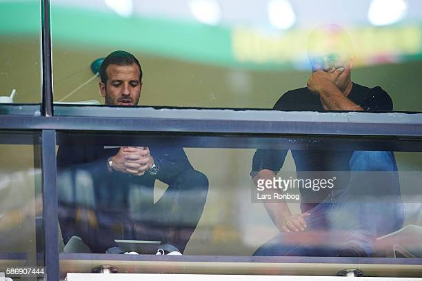 Rafael van der Vaart looks on from the VIP Skybox prior to the Danish Alka Superliga match between FC Midtjylland and Brondby IF at MCH Arena on...