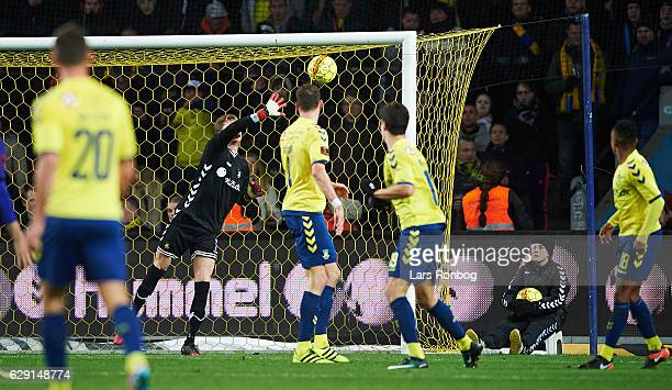 Rafael van der Vaart of FC Midtjylland scores the 11 goal against Goalkeeper Frederik Ronnow of Brondby IF during the Danish Alka Superliga match...
