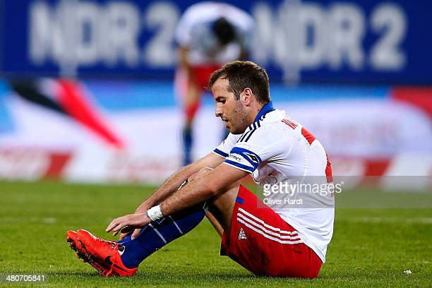 Rafael van der Vaart of Hamburg appears frustrated after the Bundesliga match between Hamburger SV and SC Freiburg at Imtech Arena on March 26 2014...