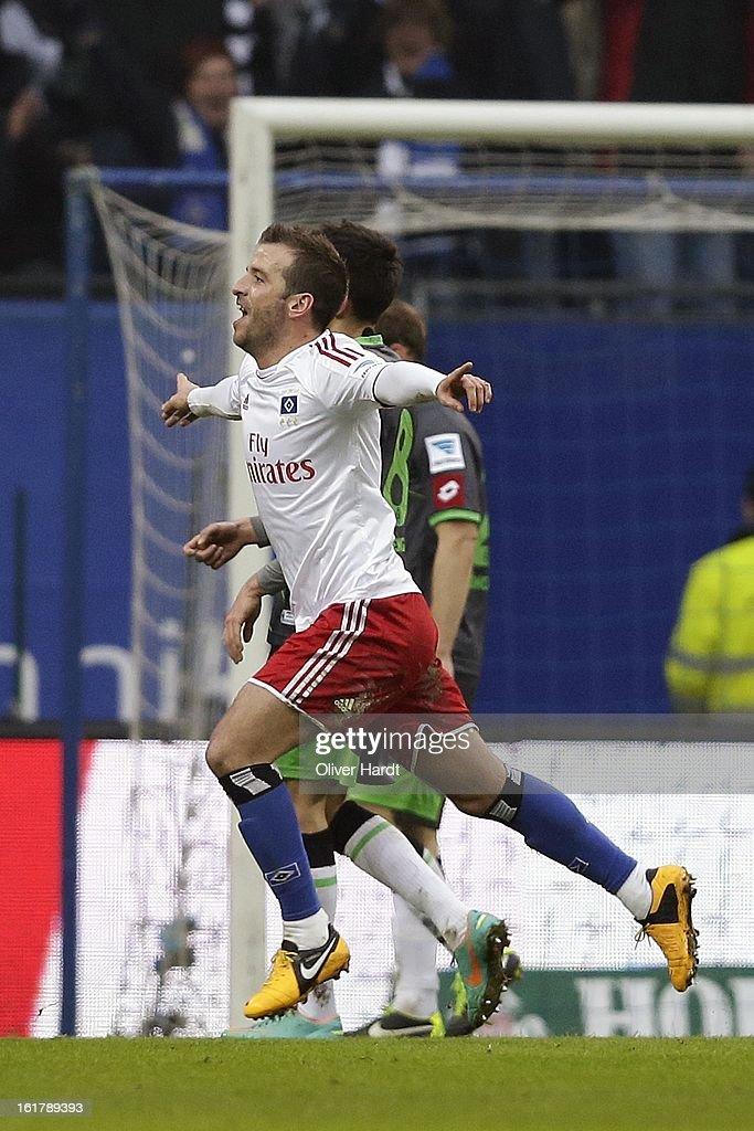 Rafael van der Vaart of Hamburg celebrates his first goal during the Bundesliga match between Hamburger SV and Borussia Moenchengladbach at Imtech Arena on February 16, 2013 in Hamburg, Germany.