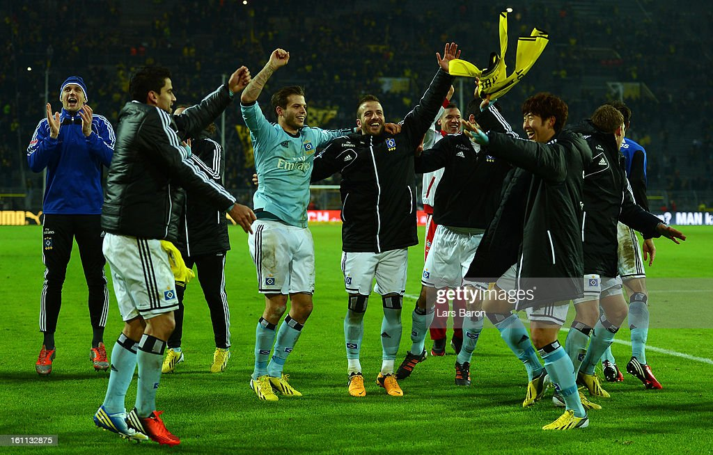 Rafael van der Vaart of Hamburg celebrates with team mates after winning the Bundesliga match between Borussia Dortmund and Hamburger SV at Signal Iduna Park on February 9, 2013 in Dortmund, Germany.