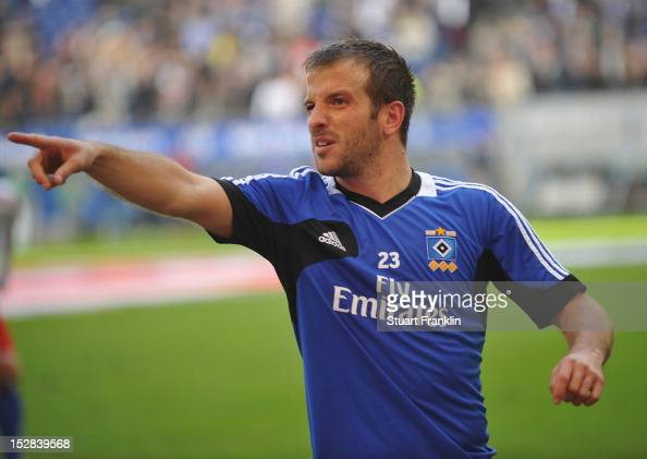Rafael Van Der Vaart of Hamburg gestures during the Bundesliga match between Hamburger SV and Borussia Dortmund at Imtech Arena on September 22 2012...