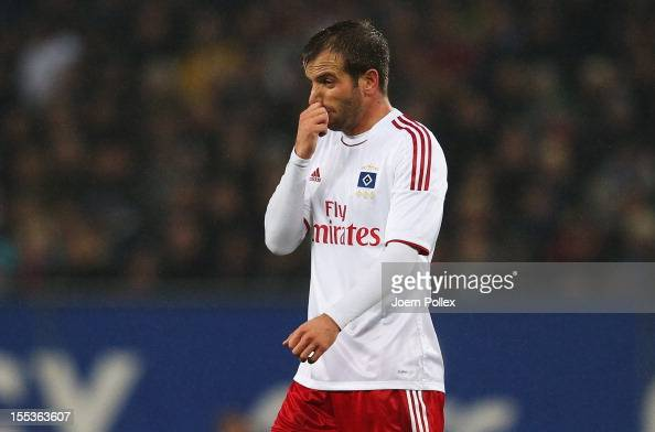 Rafael van der Vaart of Hamburg gestures during the Bundesliga match between Hamburger SV and FC Bayern Muenchen at Imtech Arena on November 3 2012...