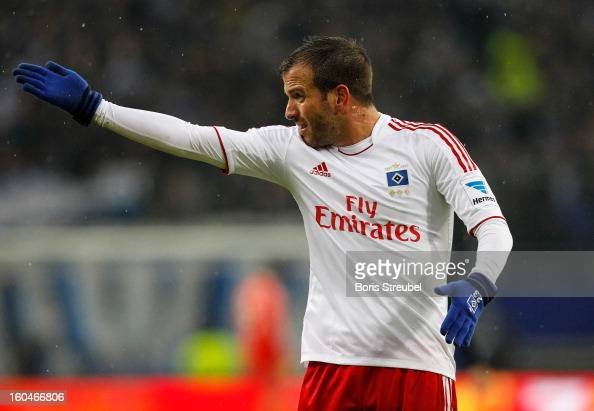 Rafael van der Vaart of Hamburg gestures during the Bundesliga match between Hamburger SV and Werder Bremen at Imtech Arena on January 27 2013 in...