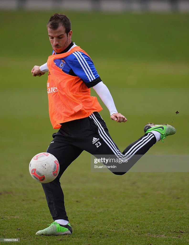 Rafael van der Vaart of Hamburg in action during a training session of Hamburger SV on April 18, 2013 in Hamburg, Germany.