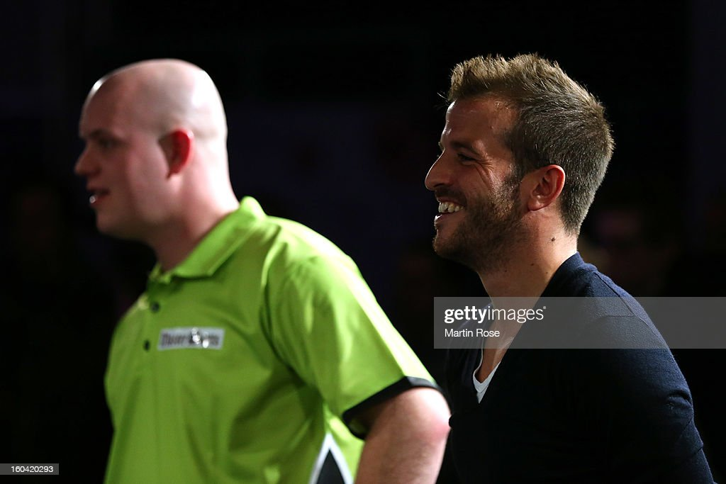 Rafael van der vaart of Hamburg looks on during a dart show tournament at between team Netherlands and Hamburger SV at Imtech Arena on January 31, 2013 in Hamburg, Germany.