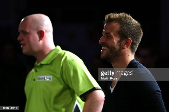 Rafael van der vaart of Hamburg looks on during a dart show tournament at between team Netherlands and Hamburger SV at Imtech Arena on January 31...