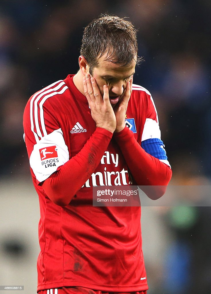 <a gi-track='captionPersonalityLinkClicked' href=/galleries/search?phrase=Rafael+van+der+Vaart&family=editorial&specificpeople=210815 ng-click='$event.stopPropagation()'>Rafael van der Vaart</a> of Hamburg reacts after the Bundesliga match between 1899 Hoffenheim and Hamburger SV at Wirsol Rhein-Neckar Arena Sinsheim on February 1, 2014 in Sinsheim, Germany.