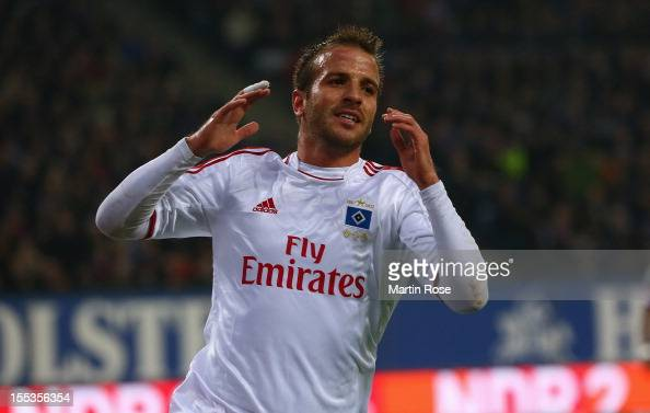 Rafael van der Vaart of Hamburg reacts during the Bundesliga match between Hamburger SV and FC Bayern Muenchen at Imtech Arena on November 3 2012 in...