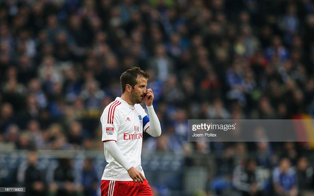Rafael van der Vaart of Hamburg reacts during the Bundesliga match between FC Schalke 04 and Hamburger SV at Veltins-Arena on April 28, 2013 in Gelsenkirchen, Germany.