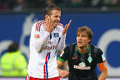 Rafael van der Vaart of Hamburg reacts during the Bundesliga match between Hamburger SV and SV Werder Bremen at Imtech Arena on November 23 2014 in...
