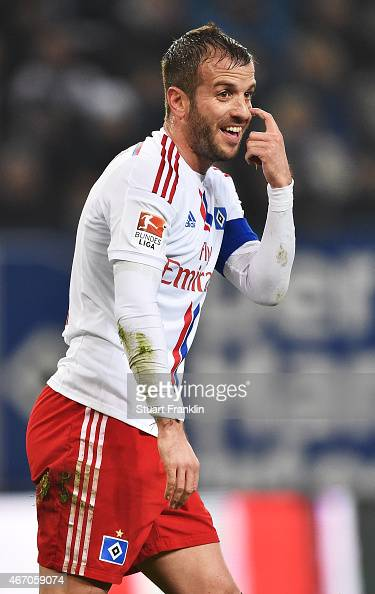 Rafael Van Der Vaart of Hamburger SV gestures during the Bundesliga match between Hamburger SV and Hertha BSC at Imtech Arena on March 20 2015 in...