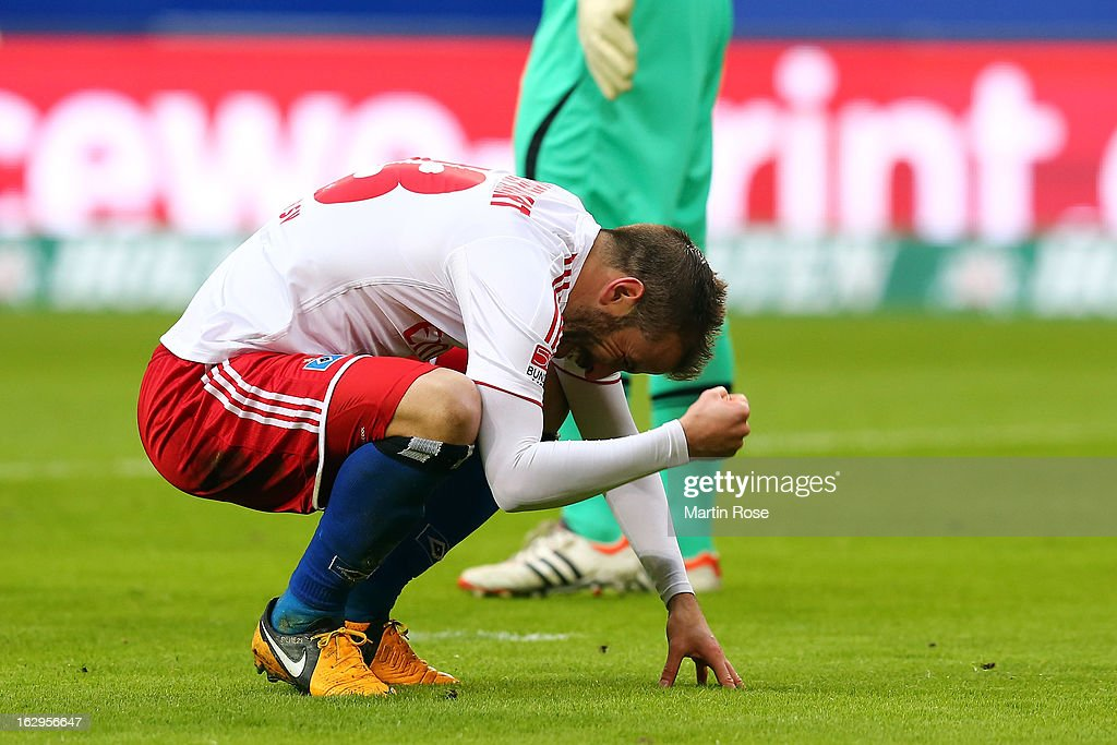 Rafael van der Vaart of Hamburger SV reacts after missing a chance during the Bundesliga match between Hamburger SV and Greuther Fuerth at Imtech Arena on March 2, 2013 in Hamburg, Germany.