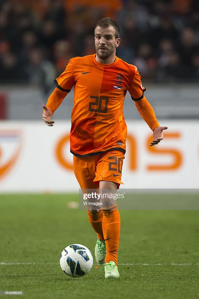 <a gi-track='captionPersonalityLinkClicked' href=/galleries/search?phrase=Rafael+van+der+Vaart&family=editorial&specificpeople=210815 ng-click='$event.stopPropagation()'>Rafael van der Vaart</a> of Holland during the FIFA 2014 World Cup qualifier match between the Netherlands and Estonia at the Amsterdam Arena on march 22, 2013 in Amsterdam, The Netherlands